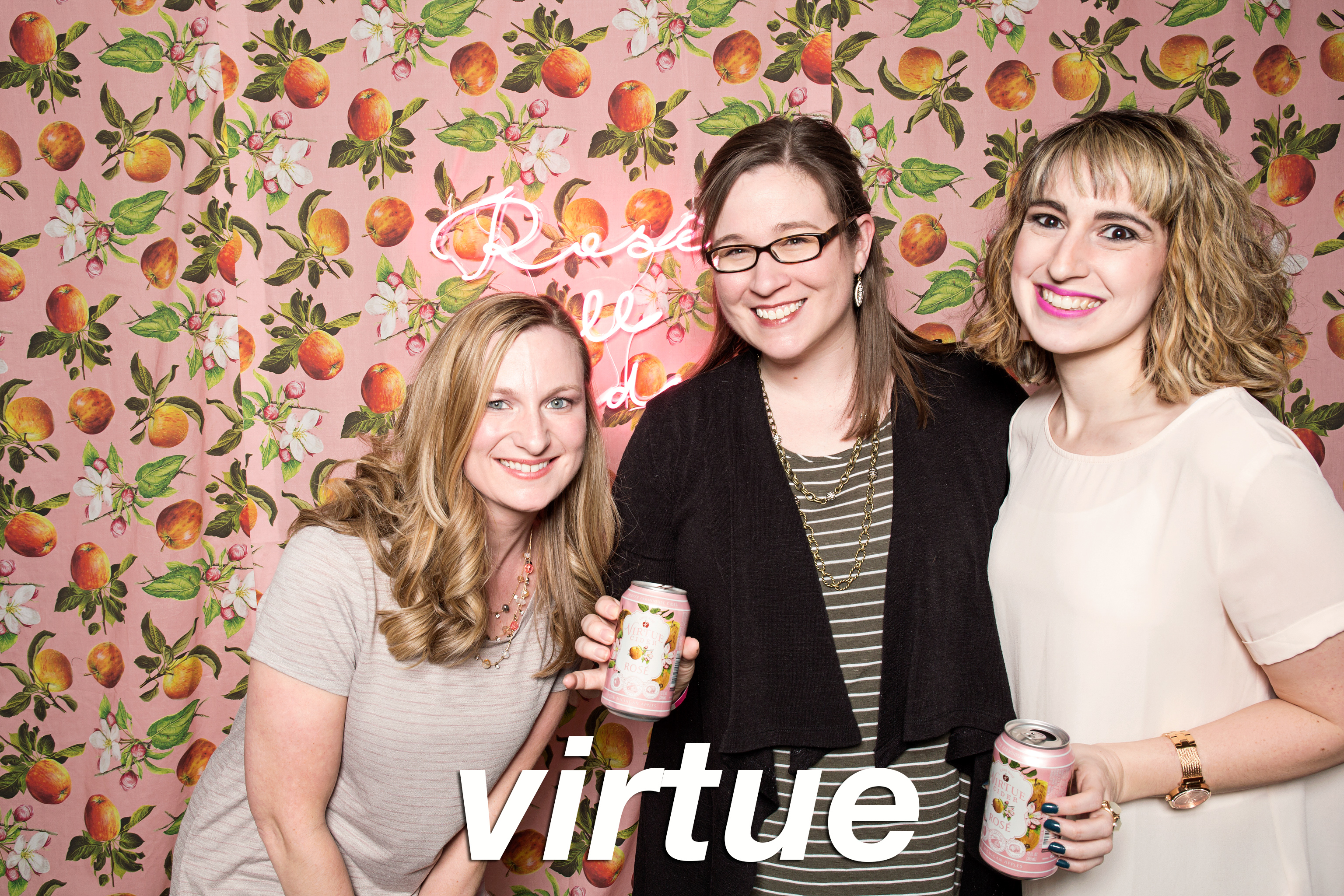 GlitterGuts Portrait Booth photos from Virture Cider's Rosé release, Chicago 2018